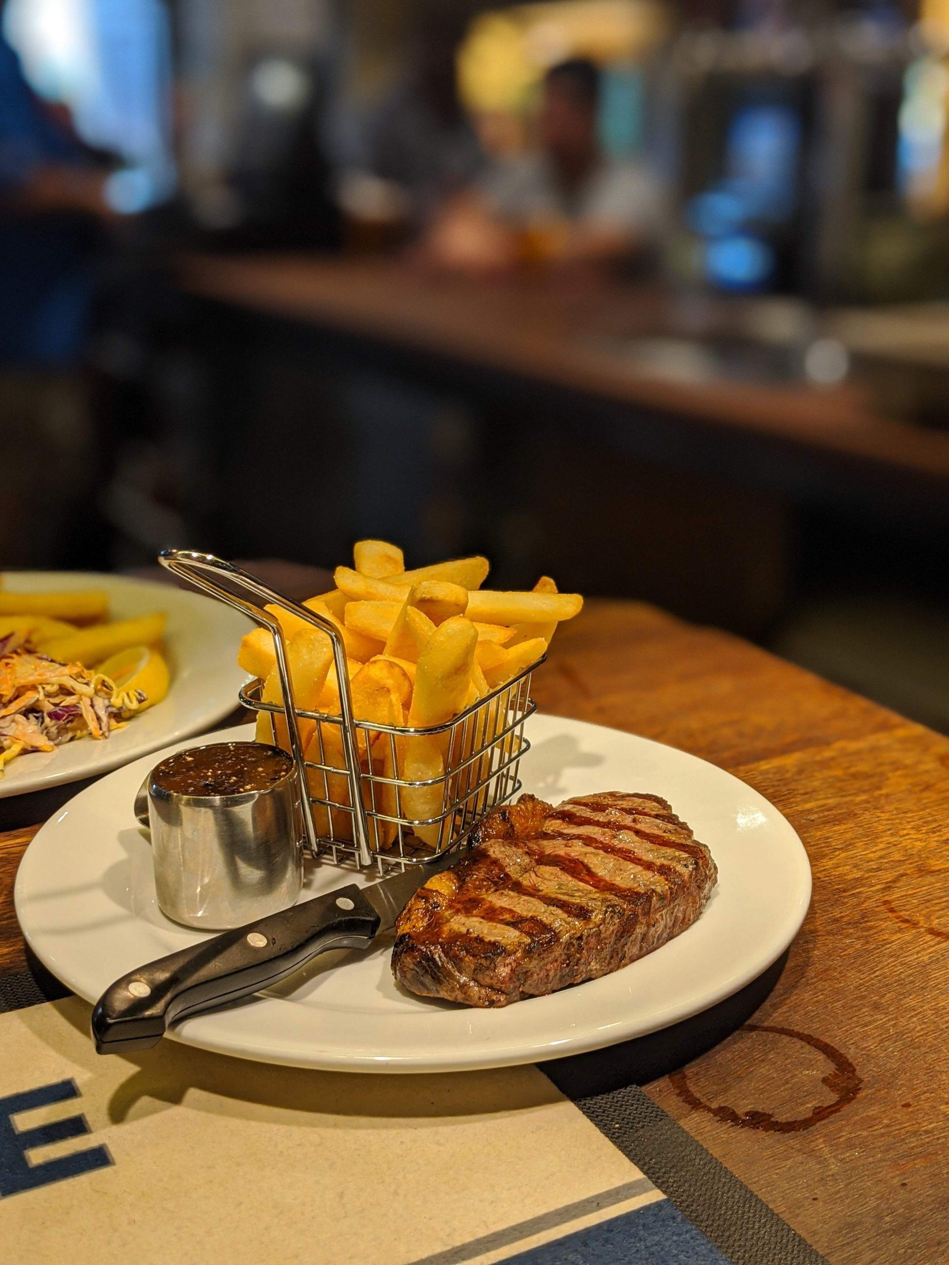 delicious steak on bar